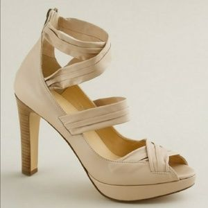 NWOT J. Crew Strappy Leather Sevigne Stacked Heel